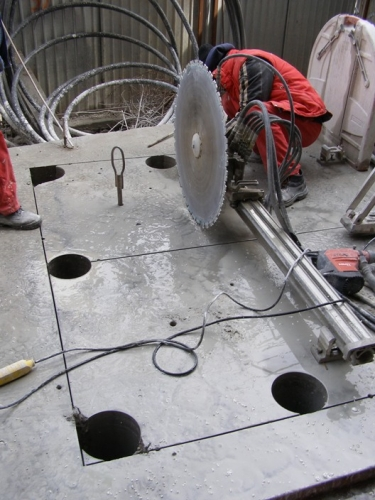 Taiere beton armat cu disc diamantat