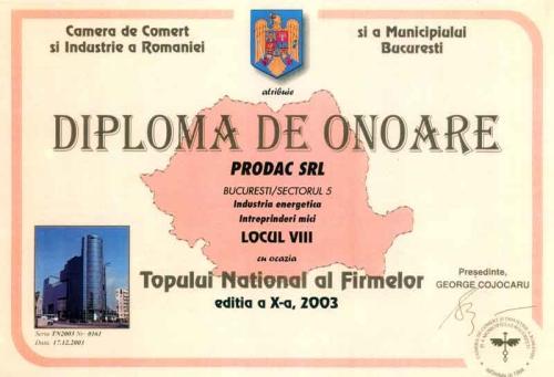 Prodac - diploma de onoare industria enegetica